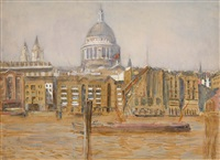 view of a quay in london with st. paul's cathedral in the background by jacobus cornelis wyand cossaar