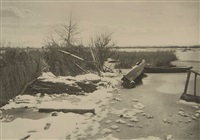 first frost, plate xiv (from life and landscape on the norfolk broads) by peter henry emerson