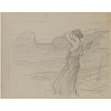 miranda study slight sketches of tree trunks verso by john william waterhouse