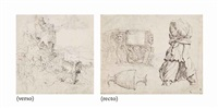 studies of roman sculpture: a fragment of a sarcophagus, an antique vase and a torso of artemis (recto); a fantastical mountainous landscape with ruins (verso) by maerten jacobsz van heemskerck