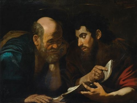 two male saints probably the evangelists matthew and john discussing a text by michelangelo merisi da caravaggio