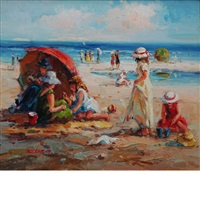 children playing on the beach by claude-marie buford