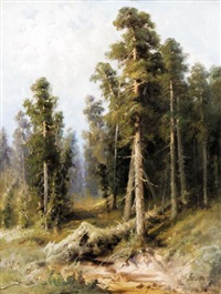 forest with wind-felled trees by aleksandr petrovich apsit