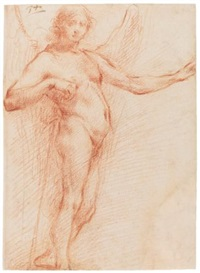 an angel holding a staff (study) by francesco (cecco bravo) montelatici