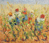 farmers working the field by otto van rees