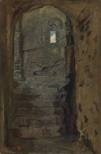a staircase at rochester castle, kent by william holman hunt