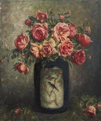 still life with pink roses by adolfo felice müller-ury