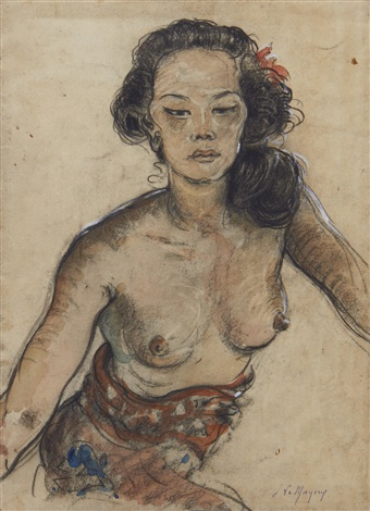 portrait of ni pollock wearing a sarong recto balinese women seated by a pond verso by adrien jean le mayeur de merprés