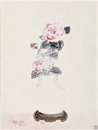 pink rose in a white vase by sanyu