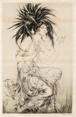 woman gaby deslys with headdress by etienne drian