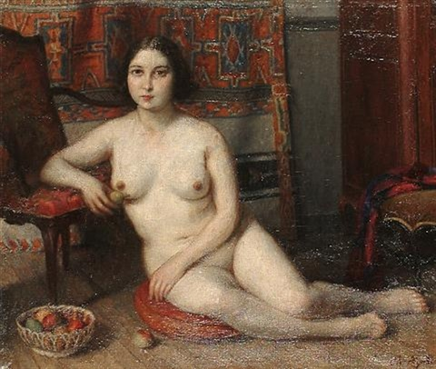 female nude seated on a cushion beside a bowl of fruit by charles jean agard