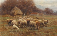 shepherd tending to his flock by martin coulaud