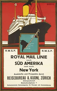 royal mail linie, süd amerika und new york by kenneth shoesmith
