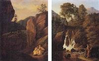 moines dans un paysage de montagne by pierre jean baptiste ernest de buchere de lepinois