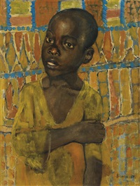 portrait of an african boy by kuz'ma sergeevich petrov-vodkin