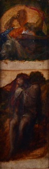 samson and one other figure (study) by george frederick watts