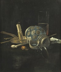 a stoneware jug, a glass of beer, a candlestick and a pipe on a draped table by cornelis van lelienbergh