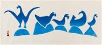 shore birds on rocks (1961 dorset series) by sheouak petaulassie