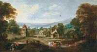 blick in ein flandrisches dorf mit vielen figuren by philips de momper the younger