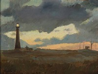the lighthouse at skagen beach by carl ludvig thilson locher