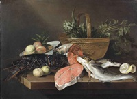 a lobster, a wan-li bowl with fruit, a sliced salmon, apples, a copper pot with artichokes and sellery and other fish, all on a wooden table by frans ykens