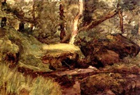 wooded landscape with stream by william brymner