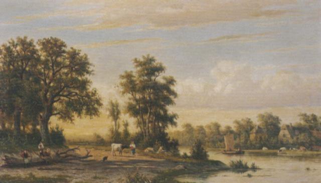 a pastoral landscape by johannes jacobus jan heppener