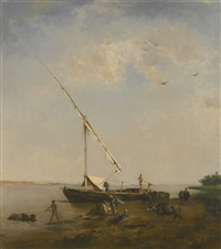 felucca au bord du nil by eugène fromentin
