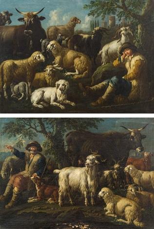 pendants schafe ziegen rinder und ein hund mit hirten 2 works by philipp peter roos