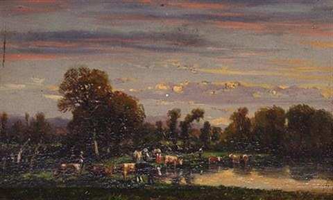 cattle watering by charles labor