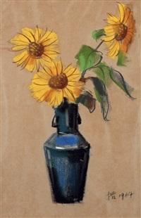 still life of sunflowers by liu kang