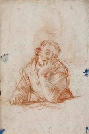 jeune rêveur accoudé jeune homme étudiant à une table verso by giovanni battista di matteo naldini
