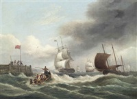 merchantmen running into the harbour at teignmouth in a strengthening breeze by thomas luny