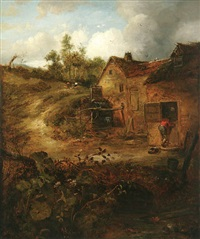 rustic landscape with cottage and figure by william robert earl