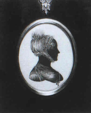 a lady in profile to the right in dress with lace collar and bonnet by george atkinson