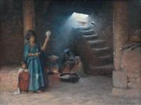 jeune femme orientaliste et enfants près du foyer by antoine gadan