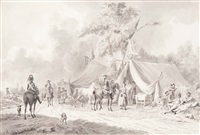 french cavalry soldiers in a camp by dirk langendyk