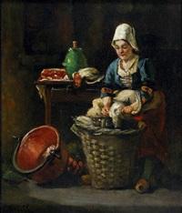cuisinière plumant le gibier by antoine jean bail