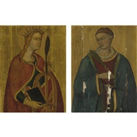 st. catherine of alexandria (+ st. lawrence; pair) by luca di tomme
