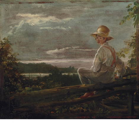country lad on a fence sketch from nature boy getting over a fence throgs point new york by william sidney mount