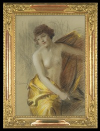 nude in a golden drapery by teodor axentowicz