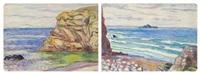 la plage avec les rochers, la plage (recto/verso) by jean misceslas peské