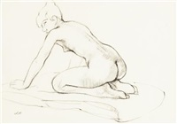 kneeling female nude by denis frederic neal peploe