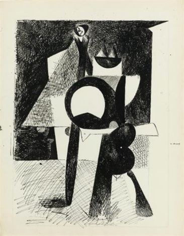 untitled cubist standing figure recto verso by arshile gorky