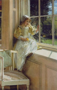 a looking out o'window (sunshine) by laura theresa alma-tadema