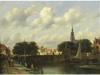 figures by a canal by pieter gerardus vertin