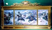 natarcie husarii pod chocimiem w 1621 (triptych) by stanislaw batowski-kaczor