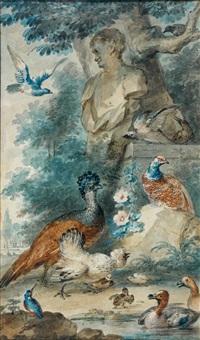 réunion d'oiseaux dans un parc by aert schouman