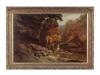 waterfall in the mountains by edward henry holder