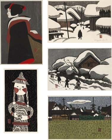 aizu/ winter in aizu/ landscape/ bunraku/ haniwa (7) (set of 5) by kiyoshi saito
